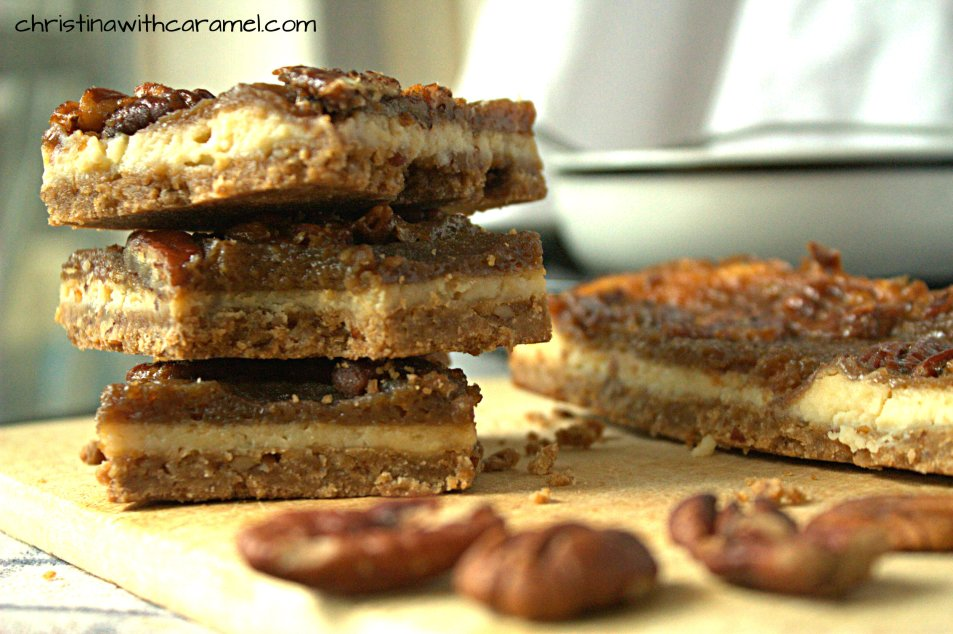Pecan Pie Cheesecake Squares | Christina with Caramel