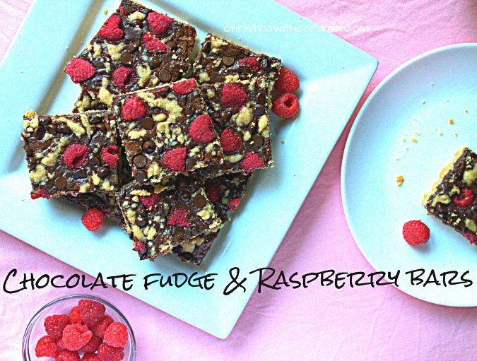 Chocolate Fudge & Raspberry Bars | Christina with Caramel